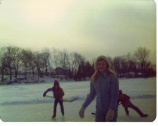 Kelly Flynn skating on Lake Fenton, circa 1972.