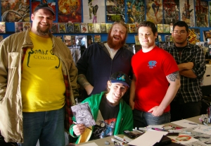 David Andres (sitting) with members of the Michigan Comics Collective