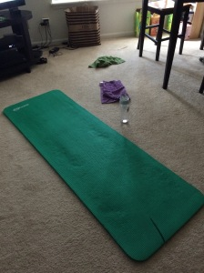 Since March this green mat has been my gym.